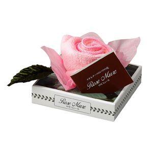 ロゼミュールタオルチーフのバラの花1輪ピンク【母の日ギフト】