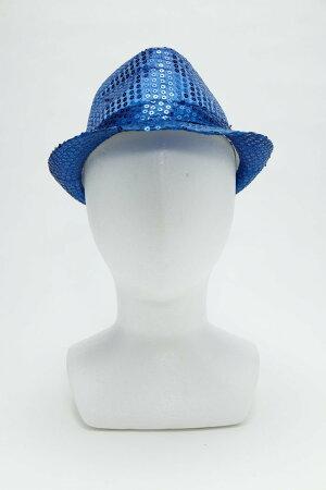 8月下旬入荷予約スパンコールハットブルー仮装衣装コスチュームコスプレ