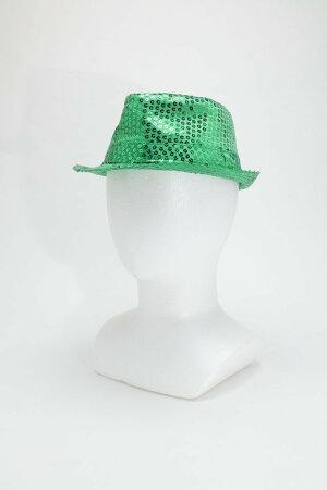 8月下旬入荷予約スパンコールハットグリーン仮装衣装コスチュームコスプレ