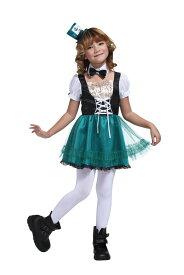 HWO ハッターガールキッズ 120 キッズ 女の子 不思議の国のアリス コスチューム 変装 衣装 仮装 アリスインワンダーランド ハロウィン