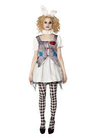 HWO ゴースト ラビット 不思議の国のアリス 女性 レディース ゾンビ ハロウィン 仮装 衣装 コスチューム コスプレ 幽霊 変装