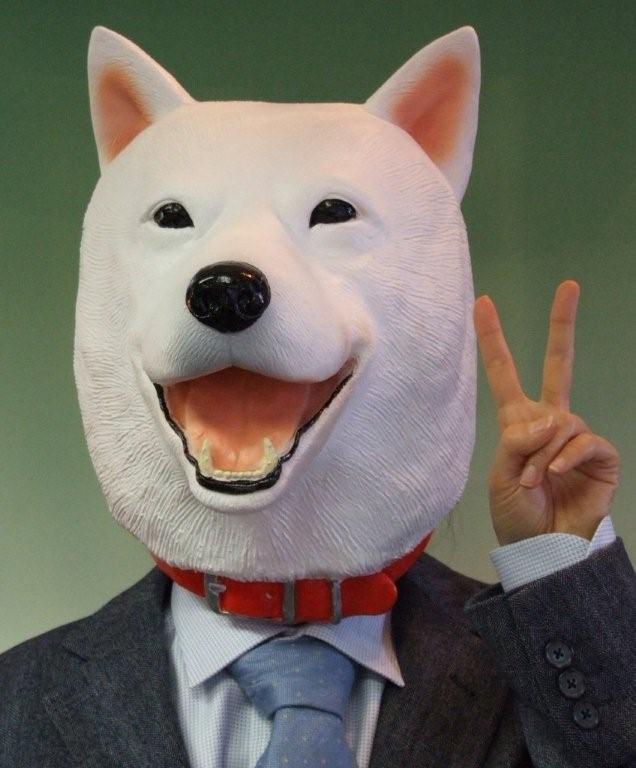 M2 白犬マスク いぬ 2018年干支 犬 アニマル いぬ 年賀状 戌年
