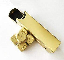 サイコロ ダイス メタルサイコロ 5個セット ゴールド 専用ケース付