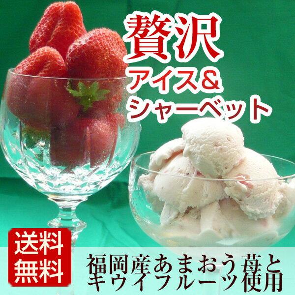 【送料無料】あまおう苺アイスとキウイシャーベットの贅沢アイス詰め合わせ 贈り物 内祝 誕生日祝い 御礼 ギフト プレゼント メッセージ カード
