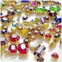 【約100粒】ガラス製 ビジュー パーツ(台座付き) 形状&サイズ&カラーアソートパック♪ 福袋/ラインストーン/ダイ…