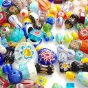 【約100g】サイズ・模様・カラーごちゃ混ぜ^^ 鮮やかなガラスビーズお楽しみセット アソートパック/ミックス/硝子/カ…