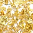 【約100個】色んなモチーフの金属チャーム ごちゃ混ぜ約100個!チャームパーツ福袋 ゴールド アソート お楽しみ 封入 …
