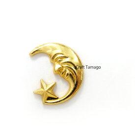 【10個】カンなしパーツ 童話のような三日月 ゴールド 約18*16.5mm / 資材 素材 アクセサリー パーツ 材料 ハンドメイド 卸 問屋 手芸