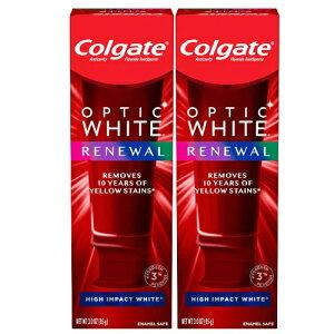 【最新版】コルゲート Colgate オプティックホワイト リニュー ホワイトニング 歯磨き粉 ハイインパクト ホワイト 85g【お得な 2本セット】Optic White Renewal High Impact White