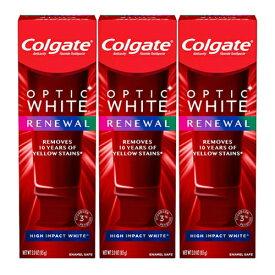 【最新版】コルゲート Colgate オプティックホワイト リニュー ホワイトニング 歯磨き粉 ハイインパクト ホワイト 85g 【お得な 3本セット】 Optic White Renewal High Impact White