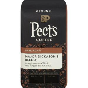 【ポイント5倍】 コーヒー コーヒー豆 ピーツコーヒー Peet's Coffee メジャーディッカーソンブレンド ダークロースト グラウンドコーヒー(挽き豆) 340g