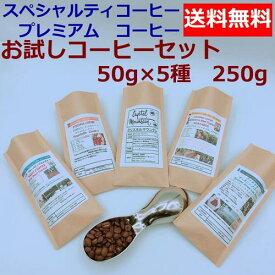 【送料無料】お試しコーヒーセットA 50g×5種類 250g | コーヒー豆 焙煎豆 ドリップ お試しコーヒー レギュラーコーヒー アイスコーヒー 水出し 旭コーヒー アサヒコーヒー ASAH COFFEE