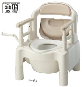 アロン化成 安寿 ポータブルトイレ FX-CP-C ちびくまくん キャスター付き 870-004 ベージュ 870-120 さくら 介護用品 『高めに設定できるひじ掛け』で姿勢保持をサポート