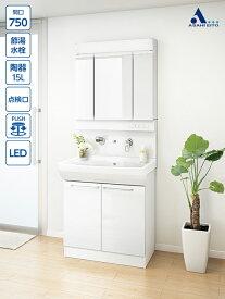 洗面台 アサヒ衛陶 洗面化粧台 シャイニーピュレア 間口750mm 三面鏡 2枚扉 シャイニーホワイト シャワー水栓 一般地仕様/寒冷地仕様 LKSP750TS(W)E3AFL2W2 見た目と清掃性にこだわった壁付きタイプ