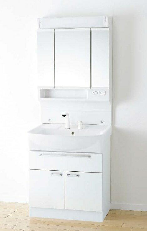 アサヒ衛陶 洗面化粧台 シャイニーカベール 間口750mm 三面鏡 2枚扉 フルスライド引き出し シャワー水栓 SLTK4801KUE3BNL2H