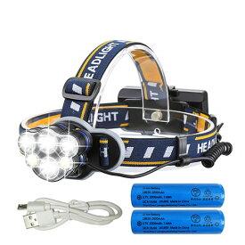 LEDヘッドライト 12000ルーメン USB充電式 軽量 防水 8点灯モード 作業灯 防災 登山 釣り ランニング 夜釣り PSE認証済み 18650型バッテリー 付属 防災 台風用品