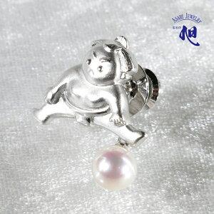 母の日ギフト 無料ラッピング 真珠 ブローチ パールブローチ 力士 パールあこや真珠 本真珠 7mm ピンブローチ タックピン 力士モチーフ 相撲 シルバー PERAL PINBROOCH 高品質 ギフト プレゼント