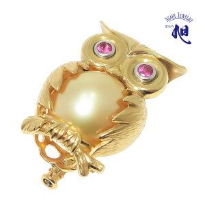 母の日ギフト 無料ラッピング 真珠 ブローチ ルビー パールブローチ フクロウ南洋真珠 南洋ゴールド パール 13mm 動物モチーフ K18 SOUTH SEA PEARL OWL BROOCH 高品質 プレゼント ギフト 贈り物 送料