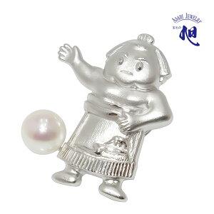 真珠 ピンブローチ パールブローチ パール 力士あこや真珠 本真珠 7mm タックピン 相撲モチーフ モチーフ シルバー PEARL SUMO PINBROOCH 高品質 プレゼント ギフト 贈り物 送料無料 無料ラッピング