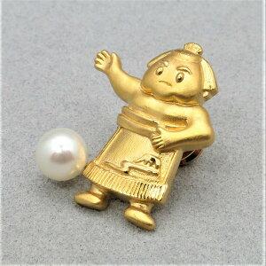 母の日ギフト 無料ラッピング 真珠 ピンブローチ パールブローチ パール 力士あこや真珠 本真珠 7mm タックピン 相撲モチーフ モチーフ シルバー金色 PEARL SUMO PINBROOCH 高品質 プレゼント ギフ