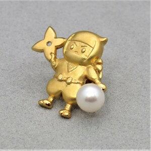 母の日ギフト 無料ラッピング 真珠 ピンブローチ パールブローチ 忍者あこや真珠 本真珠 パール 7mm タックピン モチーフ シルバー金色 PEARL NINJA PINBROOCH 高品質 プレゼント ギフト 贈り物 送