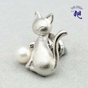 母の日ギフト 無料ラッピング 真珠 ピンブローチ パールブローチ 猫あこや真珠 本真珠 パール 6mm タックピン スカーフ留め モチーフ シルバー金色 PEARL CAT PINBROOCH 高品質 プレゼント ギフト