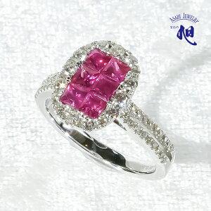 ルビー リング 1.05ct ダイヤモンド 0.55ct K18WG 12号指輪 ミステリーセッティング RUBY DIAMOND RING ギフト プレゼント 誕生日 記念日 高品質 初回サイズ直し無料 送料無料 無料ラッピング 品質保証