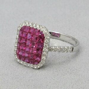 K18WG ルビー(1.4ct) ダイヤモンド(0.4ct)ミステリーセッティング リング 15号初回サイズ直し無料 RUBY DIAMOND RING指輪 7月 誕生石 高品質 送料無料無料ラッピング 品質保証書付き※上下2号までサイ