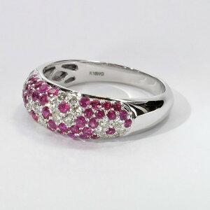 ルビー ダイヤモンド リング K18WG 0.7ct 12号18金 ホワイトゴールド RUBY DIAMOND RING パヴェセッティング 指輪 0.7カラット ギフト プレゼント 入学式 卒業式 結婚式 高品質 初回サイズ直し無料 送料
