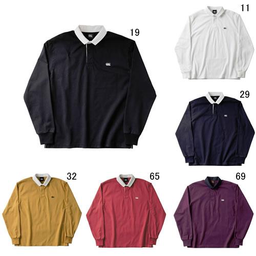 ラガーシャツ 長袖 メンズ カンタベリー canterbury ソリッドカラー ラグビージャージ 男性用 ラグビー 無地 綿 タウンユース 紳士服 / RA48560 セール