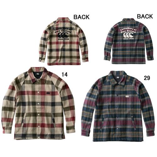 長袖 アウター メンズ カンタベリー CANTERBURY ロングスリーブ マドラスシャツ ジャケット ラグビー 襟付 ウェア セール RA48613