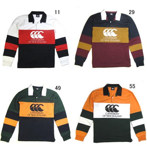 ラガーシャツ 長袖 限定モデル メンズ カンタベリー canterbury ロングスリーブ ラガー シャツ 男性用 ラグビー ボーダー 綿 CCC ロゴ / RA48903 特価 セール