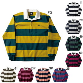 ラガーシャツ 長袖 襟付 メンズ カンタベリー canterbury 4インチ ストライプ ラグビージャージ 男女共用 ラグビー ボーダー 綿 タウンユース / RA48561 セール