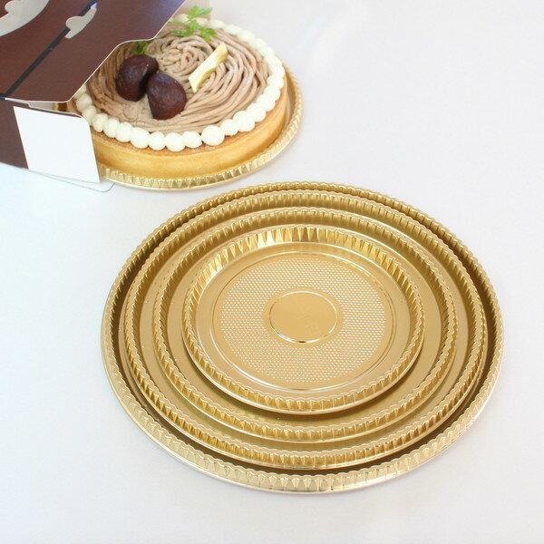 【ケーキ箱用トレー】XM 丸型金トレー 6号 5枚入 【rrr】
