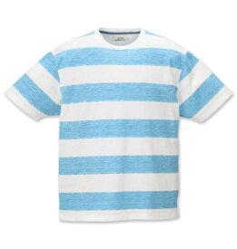 【 大きいサイズ 】ナノテック加工スラブ杢ボーダー半袖Tシャツ Timely Warning (サックス)【 3L 4L 5L 6L 】【 キング 】【 ビッグ 】【 ラージ 】