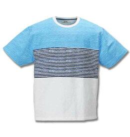 【 大きいサイズ 】ナノテック加工スラブ3段切替半袖Tシャツ Timely Warning (サックス)【 3L 4L 5L 6L 】【 キング 】【 ビッグ 】【 ラージ 】
