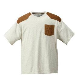 スエード切替 半袖 Tシャツ Timely Warning ( オートミール ) 【 3L 4L 5L 6L 】【 大きいサイズ 】【 キング 】【 ビッグ 】【 ラージ 】【 あす楽 】