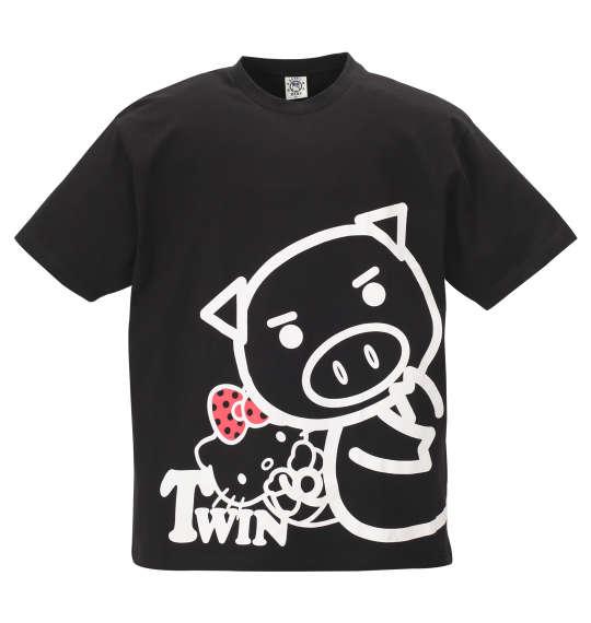 【 大きいサイズ 】美豚×ハローキティ半袖Tシャツ 豊天 (ブラック)【 3L 4L 5L 6L 】【 キング 】【 ビッグ 】【 ラージ 】