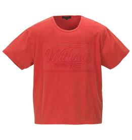 【 大きいサイズ 】エンボスパッチワークパウダー加工半袖Tシャツ in the attic (レッド)【 3L 4L 5L 6L 】【 キング 】【 ビッグ 】【 ラージ 】