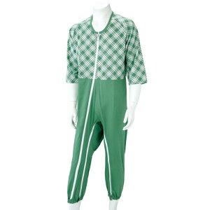 介護用 つなぎ パジャマ 八分袖 (on733394) フルオープン(全開)仕様 ファスナーロック(鍵)式 パジャマ 介護