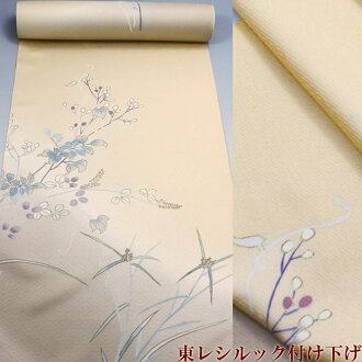 In the east レシルック cloth semi-gala pattern cream place the vine of bush clover and grape (附下洗 kimono non-sewing to get)