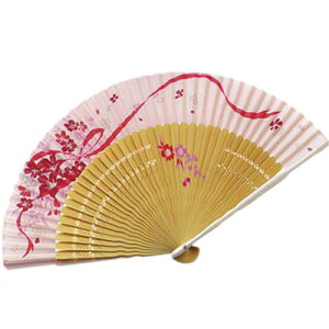 扇子 扇子袋 セット リボンフラワー ピンク 母の日 夏 プレゼント ギフト 夏扇子 セット 母の日ギフト 1点までメール便可