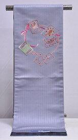 正絹 仕立上り 岡重 京袋帯 -刺繍/グレー系- [ 1302-1313 ] すぐ使える 仕立て済み 着物 きもの 小紋 色無地 おび 変わり結び お太鼓 きぬ シルク おかじゅう ししゅう 女性 女物 レディース 日本製 ブラック リボン カード