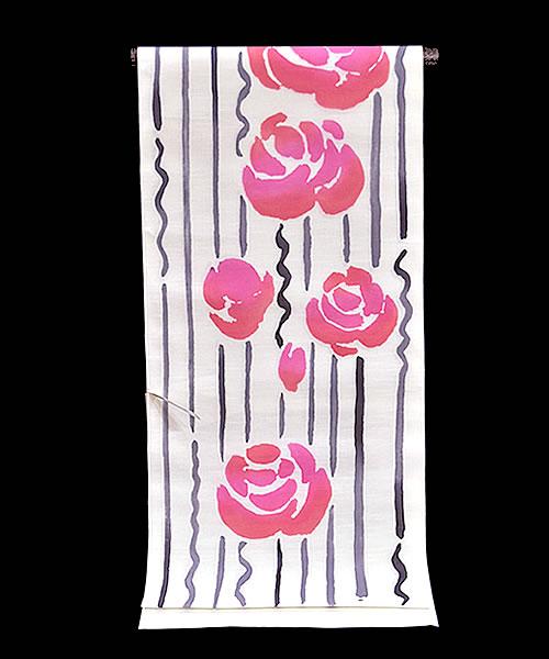 ◆tsumori chisato◆ 女物ゆかた −薔薇×よろけストライプ/白系地− [ 0904-889 ] 【浴衣・仕立て・フルオーダー・女性・レディース・ツモリチサト・バラ・花・縞・反物・綿・めん・花火・お祭り・夏・日本製】