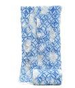 女物 鳴海有松 絞り浴衣反物 -七宝朝顔/藍色系地- [ 1804-2676 ] 【ゆかた・フルオーダー・誂え・仕立て・一目・…