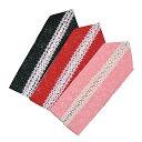 振袖用 重ね衿 -花レース/黒・赤・ピンク- 全3色 [ 0810-570 ] 【ふりそで・伊達衿・だてえり・女性・素材・絹・キュート・フラワー・晴れ着・桜】
