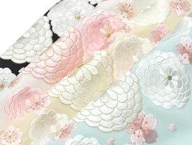 女物 ポリエステル シルエリー 刺繍 半衿 -万寿菊・桜- 全4色[ 1405-1609 ] 着物 きもの 長襦袢 晴れ着 振袖 成人式 レーヨン 半襟 はんえり 女性 レディース きく キク さくら サクラ 花 日本製