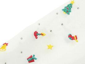 女物 合繊 クリスマス柄刺繍 半衿 [ 1412-1756 ] 【クリックポストOK】【着物・きもの・長襦袢・ししゅう・スワロフスキー・半襟・はんえり・女性・レディース・白地・くりすます】