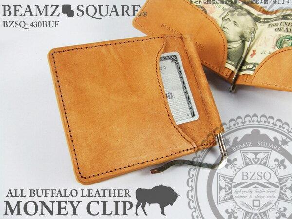 バッファローレザー マネークリップ 財布 メンズ 水牛革 札ばさみ 二つ折り財布 ブランド BZSO430 ビームズスクエア 【BEAMZ SQUARE】