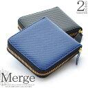 Merge カーボン加工 × 牛革 ラウンドファスナー 二つ折り財布 メンズ box型小銭入れ ブラック ネイビー MG-1974